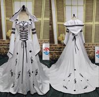 Campione reale bianco e nero abiti da sposa d'epoca 2018 manica lunga del merletto del ricamo merletto Appliqued Up Back Abiti da sposa EN12221