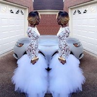 2018 African White Mermaid Lace Prom Dresses for Black Girls...