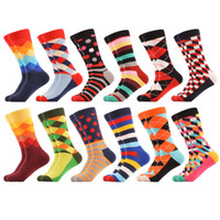 Men' s Funny Colorful Combed Cotton Socks Love Red Pink ...