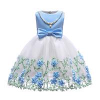 Çocuk Kız Giyim Bebek Kız Kızlar Için Inci Ile Işlemeli Elbise Örgün Düğün Parti Elbiseler Çocuklar Prenses Noel Elbise Kostüm