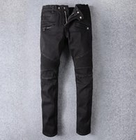 Fashion Brand Paris Stretch Denim Motorcycle Patns Men'...