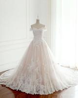 Vestidos de noiva de renda off-a-ombro Imagem real Trem da corte Applique A linha Luxo País de tule Vestidos de noiva Vestidos De Novia 2019 W062