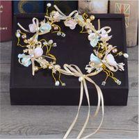 El Yapımı Düğün Saç Takı Kumaş Çiçek Taç Bilezik ve Küpeli Inci Gelin Aksesuarları Balo Flower Garland Çelenk Şerit