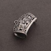 5 Pcs / lot Taille 44 * 36mm Bail Perles pour Wrap Écharpe Antique Argent Boucle Spirale Modèle Sculpté Creux F2518