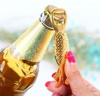2018 Abrebotellas Forma de piña Color oro Metal Cerveza Botella de vino Herramienta Banquete de boda Cumpleaños Baby Shower Favor Regalo Recuerdos