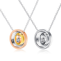 Ti amo Darling His / Hers Collana pendente Halo Ring in acciaio inossidabile