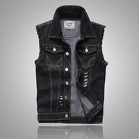 Tamaño más rasgado Negro de la chaqueta del dril de algodón del chaleco para hombre Slim Fit Jeans Hombre sin mangas sin mangas del vaquero Marca Estilo sisa 5XL