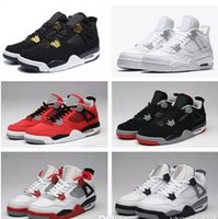 Cheap New men 4 Pure Money Basketball Shoes Mens 4s BRED Roy...