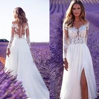 New Cheap Bohemian Lace Wedding Dresses Beach Sheer Neck Appliques Wedding Dress Long Sleeves Backless Bridal Gowns Robe de mariee