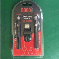 سخن BOGO بطارية مزدوجة اثنين من التسخين Vape القلم 400 مللي أمبير مع شاحن USB 510 موضوع شاحن البطارية كاتب كيت صالح السيراميك خرطوشة