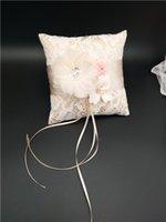 Обручальное кольцо подушка с лентами кружева цветок обручальное кольцо держатель обручальное кольцо подушка носитель 15x15 см свадьба украшения A001