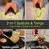 Clever Tongs 2 In 1 Kitchen Spatula and Tongs Non- Stick Heat...