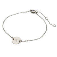 26 Initial Letter charm Bracelet for Women Silver color Stai...