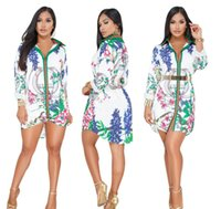 Women Sexy long sleeves shirt Dress Summer Print Vestidos Af...