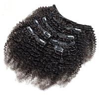 Clip ricci crespi nelle estensioni dei capelli umani 7Pcs Set ClipArt coloraval in testa piena 7 pezzi Remy Hair 4B 4C 3B 3C