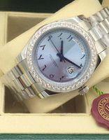 Luxe horloges Diamond Bezel 228206 Platinum 43mm ijsblauw Arabisch zeldzame wijzerplaat automatische mode merk herenhorloge horloge