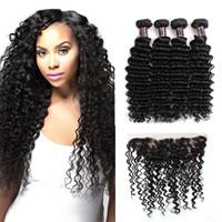 Precio al por mayor 10A onda profunda brasileña 4Bundles con 13 * 4 Frontal del cordón peruano productos de cabello humano de la Virgen india malasio envío gratis