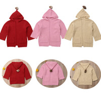 Kids Girls Warm Winter Hooded Knitted Coat Outerwear Girl Lo...