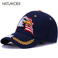 [HATLANDER] 2018 Frühling Sommer Baseballmützen für Männer im Freien Sonnenhut Frauen Stickerei Eagle USA Sport Hüte gebogene Casquette Kappe