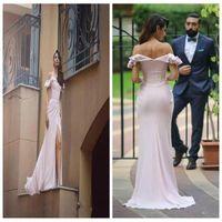 2021 Sweetheart 핑크 오프 어깨 머메이드 댄스 파티 드레스 우아한 반팔 사이드 스플릿 레드 카펫 드레스 스윕 기차 저녁 행사 가운
