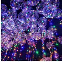 18 polegada de Látex Claro Balão Com Tira Conduzida 3 M Fio de Cobre Luminosa Led Balões Para Decorações de casamento Fontes da festa de aniversário