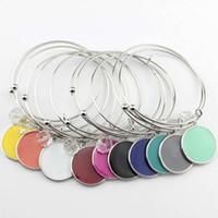2018 plaqué rhodium initiale bruts bracelet monogramme de mode bruts charme bracelets émail plat disque rond gravé bracelet bracelet réglable