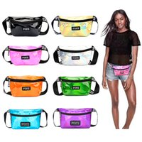 Pink Letter Fanny Waist Packs Waterproof Shiny PU Laser Bag ...