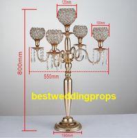 Yeni Stil Mumluklar 5-Arms Metal Altın / Gümüş Şamdan Kristal Şamdan Düğün Olay Centerpiece Için Best0243