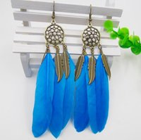 European and American brands dream feather tassel Earrings h...