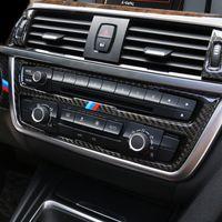 탄소 섬유 스트립 에어 컨디셔닝 CD 패널 장식 커버 트림 액세서리 자동차 스타일링 스티커 BMW 3 4 시리즈 3GT F30 F31 F32 F34
