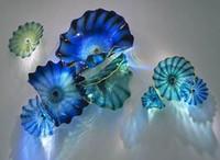 Mano Mano soplado lámparas de colores placa de arte murano vidrio estilo mediterráneo platos azules para colgar el hotel decoración del hogar