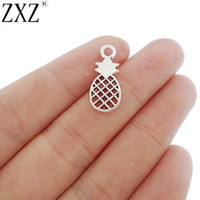 ZXZ 20pcs Antique Silver Tone Pineapple Charms Pendants Double Sided for Necklace Bracelet DIY Jewelry Making Findings 21x9mm