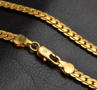 Fashion Mens Womens Jewelry 5mm 18k Gold Plated Chain Neckla...