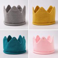 패션 다채로운 아기 신생아 사진 소품 어린이 모자 아기 크라운 니트 모자 밴드 사진 액세서리 생일 모자 GA398