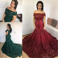 Hunter Green   Dark Red Off the Shoulder Evening Dresses 201...
