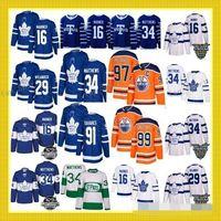 2019 Yeni 91 John Tavares Hokey 97 Connor McDavid ERKEKLER Gençlik kadınlar Toronto Maple Leafs 34 Auston Matthew 16 Mitchell Marner Jersey