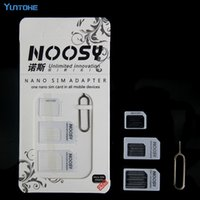 4en1 4 en 1 Noosy Nano Adaptateur de carte SIM + adaptateur de cartes Micro Sim + Adaptateur de carte SIM standard Pour iPhone huawei samsung 1000sets / lot = 4000p