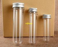 100 pz / lotto VELOCE di spedizione 100 ml trasparente maschera bagno sale provetta PET con tappo in alluminio bottiglie 100cc
