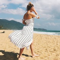 Women Summer Dress 2018 Casual Bodycon Striped Chiffon Slash...