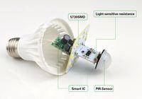 220V PIR 모션 센서 E27 5730 SMD 3W 5W 7W 9W 12W LED 전구 사운드 음성 유도 조명 제어 램프 문 계단 조명