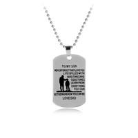Tag do cão colar para o meu filho / filha ser o homem amor pai / mãe filho pingente de colar de metal militar pai para filho de aniversário gif