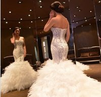 Beaded Crystal Mermaid Wedding Dresses with Feather New Swee...