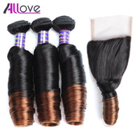 10A Brazilian Spring Curl Ombre T1B 4 3Bundles With Closure ...