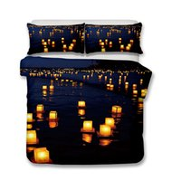 3D Wishing Light on The River Surface Bedding Set 3pcs Duvet...