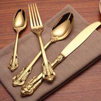 Высокое Качество Роскошный Золотой Посуда Набор Позолоченный Набор Столовых Приборов Из Нержавеющей Стали Свадебный Обеденный Нож Вилка Столовая Ложка