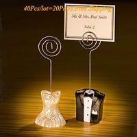 (40 Teile / los = 20 Pairs) Braut und Bräutigam Hochzeit Tischkartenhalter Für Hochzeit Dekorationen und gast visitenkartenhalter Gastgeschenke (KEINE KARTEN)