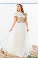 İki adet Gelinlik Modelleri Şampanya Payetler Ceket Uzun Genç Düğün Elbise Uzun Nedime Elbise Tül Etek