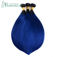 Brazilian Straight Hair 1B Blue Colored Ombre Bundles With C...