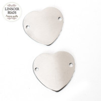 10pcs / lot 31 * 29mm Argent Couleur Acier Inoxydable Coeur Forme Blanc Poinçons Estampage Bracelet Connecteurs Fabrication De Bijoux F3372