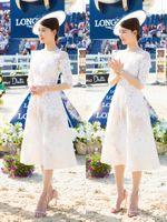 2019 Último / Nuevo estilo Moda Una línea Longitud de la rodilla Manga corta Blanco Marfil Apliques Vestidos de Fiesta Vestidos de graduación